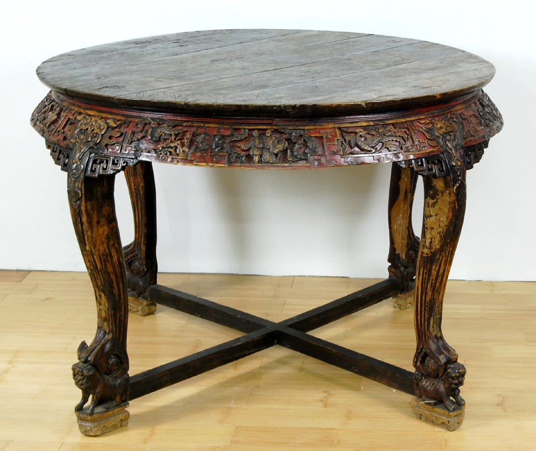 ANTIQUE HEBEI ROUND WALNUT TABLE Dining Rare Curved Leg eBay : 413548392o from ebay.com size 1050 x 883 jpeg 195kB