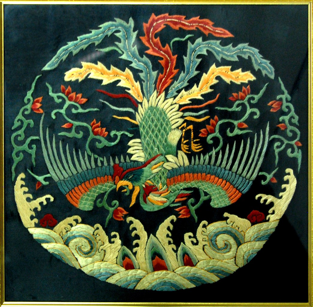 Chinese phoenix framed silk embroidery feng shui art