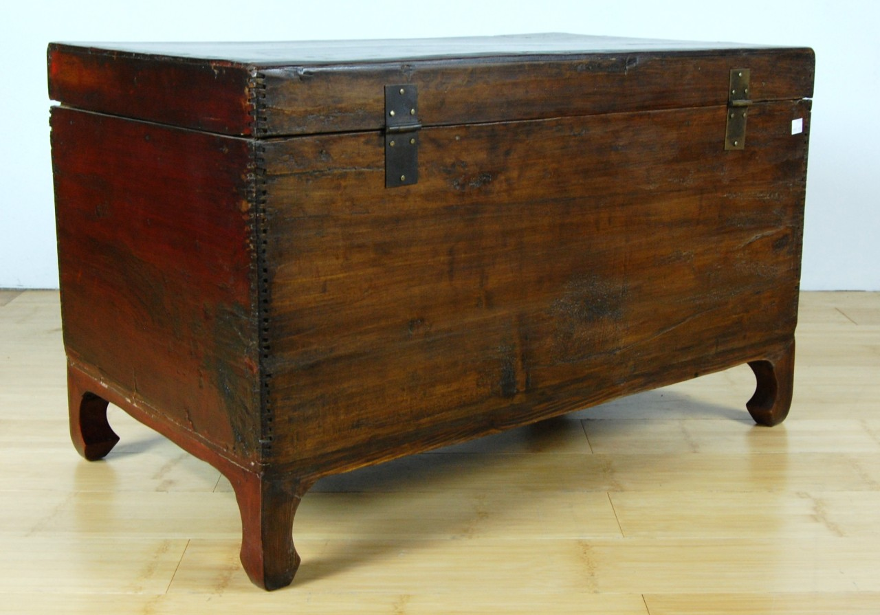 Red Lacquer Trunk Coffee Table Wood Hope Chest Box New