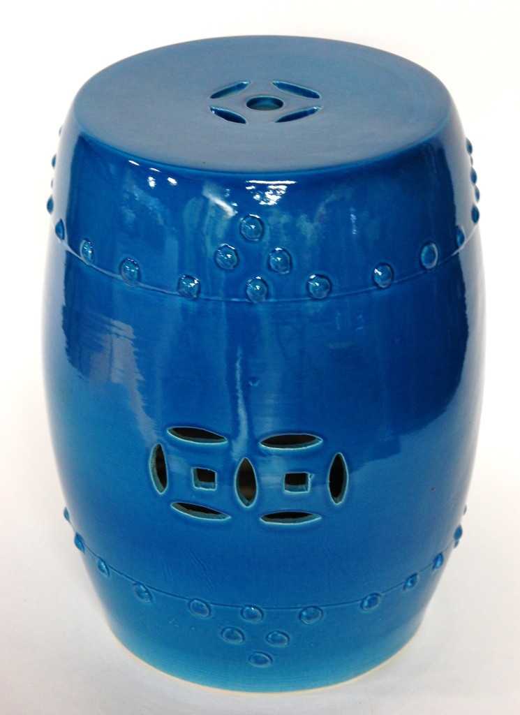 Ceramic Garden Stool Blue Turquoise Porcelain Side Seat