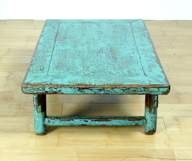 RUSTIC ANTIQUE BLUE COFFEE TABLE Elm Wood Asian Stand