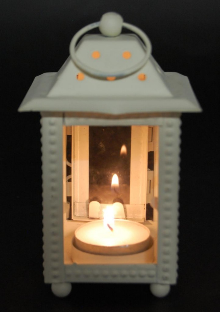 Metal glass lantern white outdoor candle holder hanging for Wire candle lantern