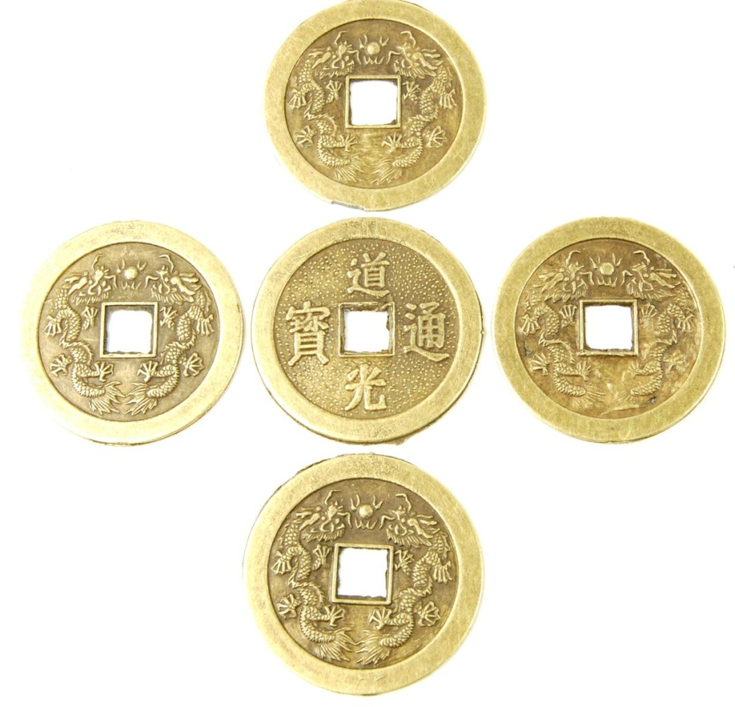 Feng shui fortune coins i ching luck chinese lot of 5 ebay - Feng shui good luck coins ...