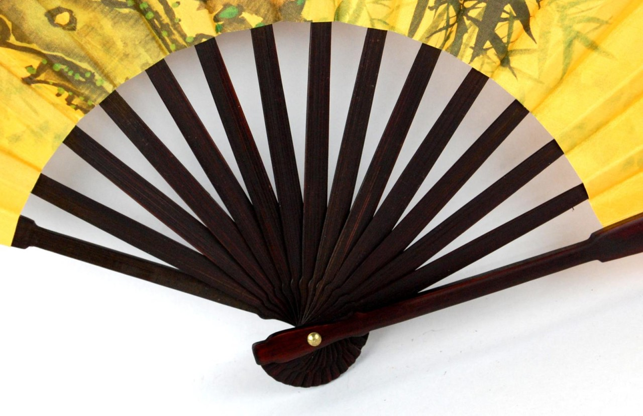 Chinese Bamboo Cherry Blossom Fan Decorative Asian Hand