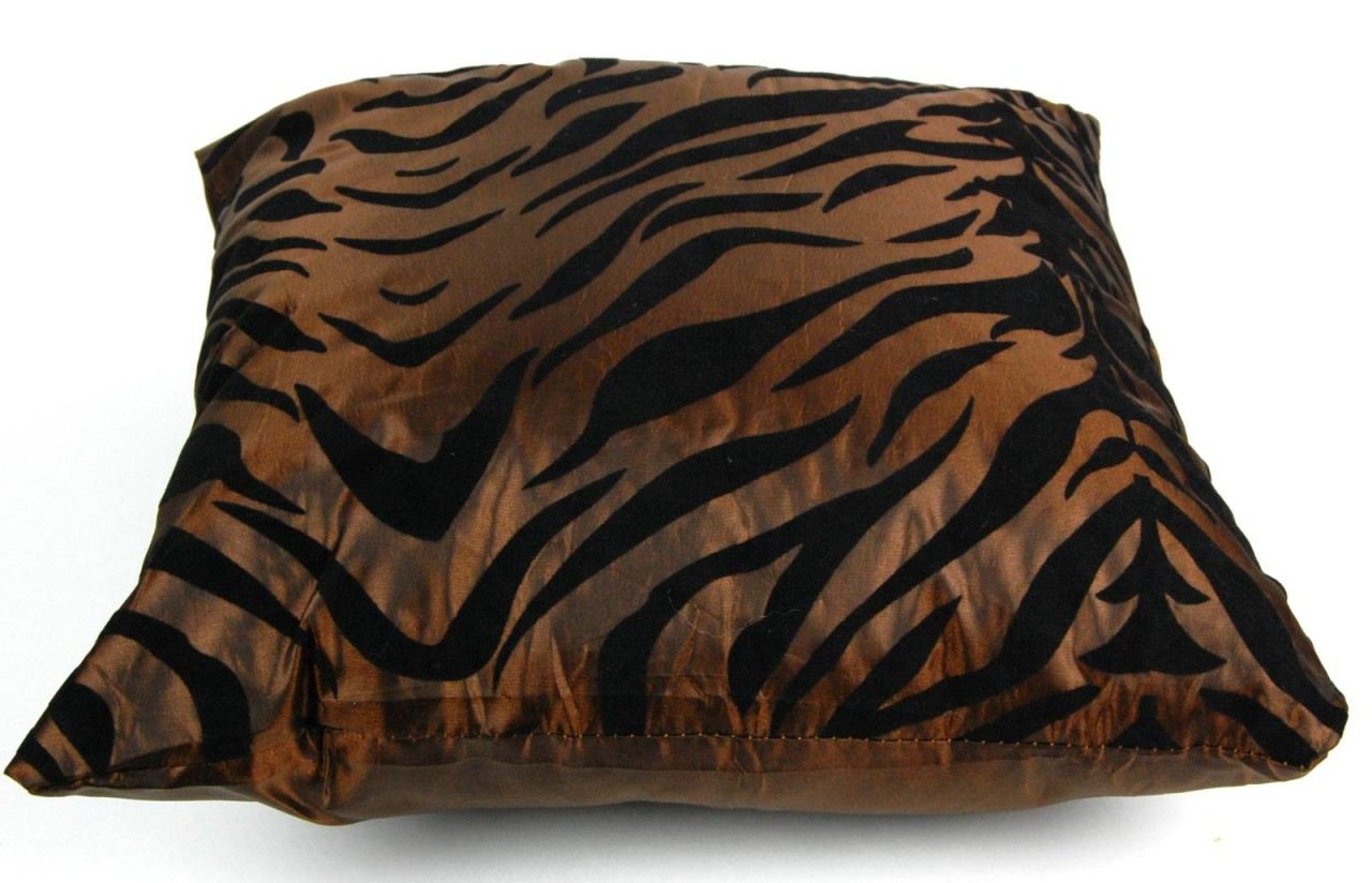 Animal Print Pillows For Couch : SILK BLEND BROWN ZEBRA PILLOW Square Throw Modern Animal Print Couch Cushion eBay
