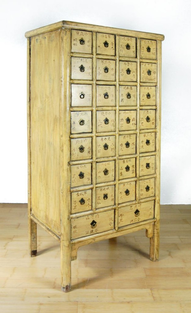 Antique Yellow Apothecary Cabinet 28 Drawer Chinese Herb Chest Storage 67x29x21 Quot Ebay