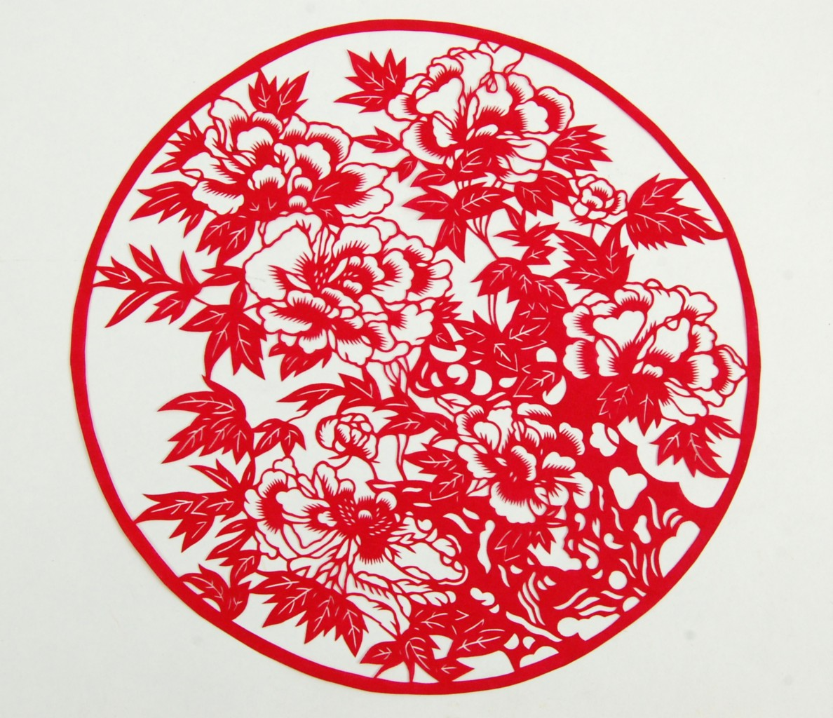 paper cut peony blossom chinese feng shui scrapbook asian