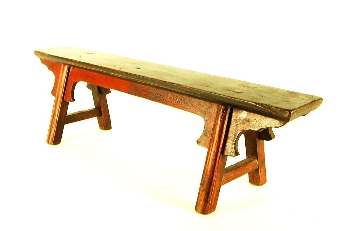 Antique Cypress Wood Bench Sm Seat Stand Step Stool Red Distressed 34x10x9 Ebay