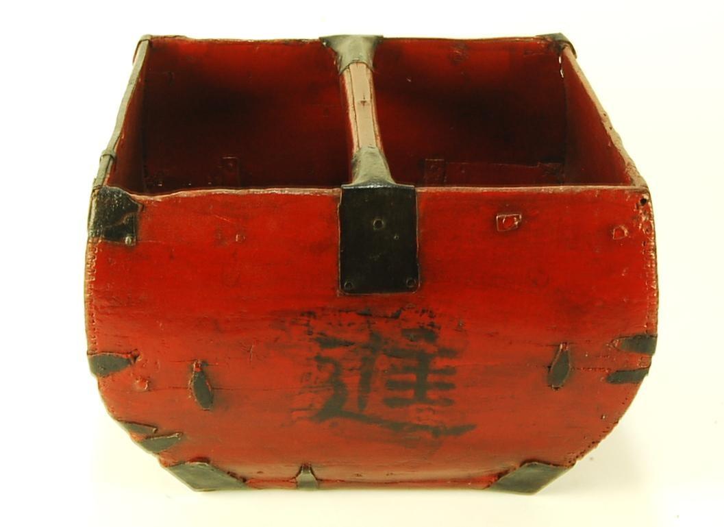 Vintage Chinese Wood Rice Bucket Decorative Asian Measurer