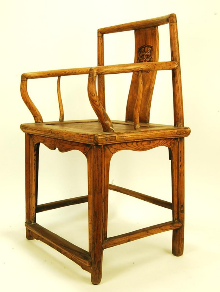 antique elm wood chair formal dining asian