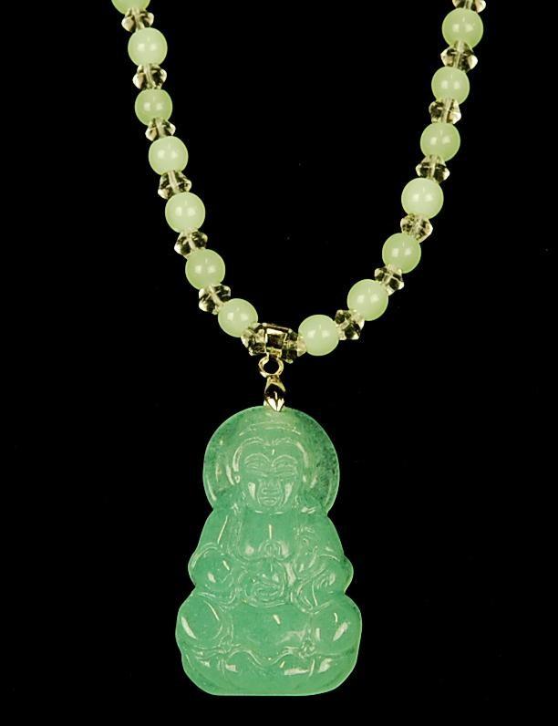 carved light green jade kwan yin necklace guanyin