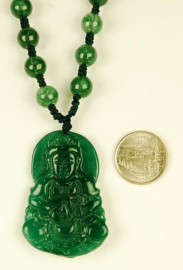 carved green jade kwan yin necklace guanyin