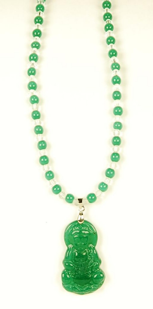 carved green jade kwan yin necklace pendant