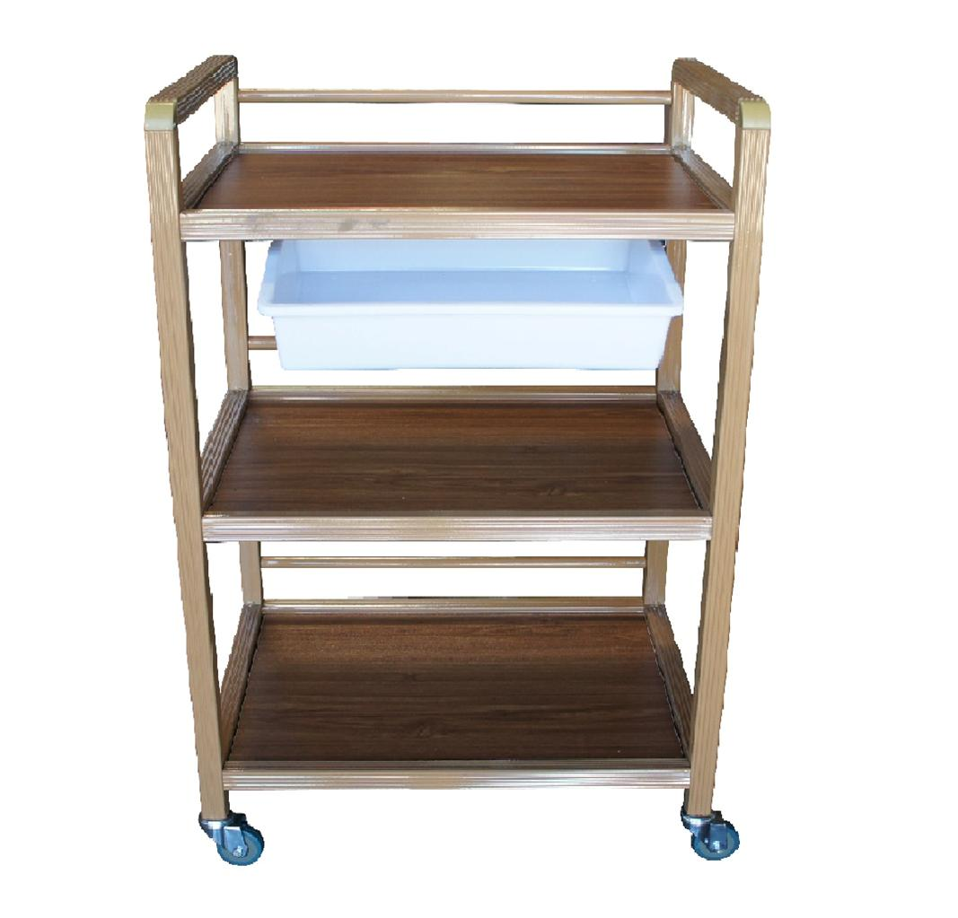 3 shelf storage wooden handle tray trolley rolling beauty. Black Bedroom Furniture Sets. Home Design Ideas