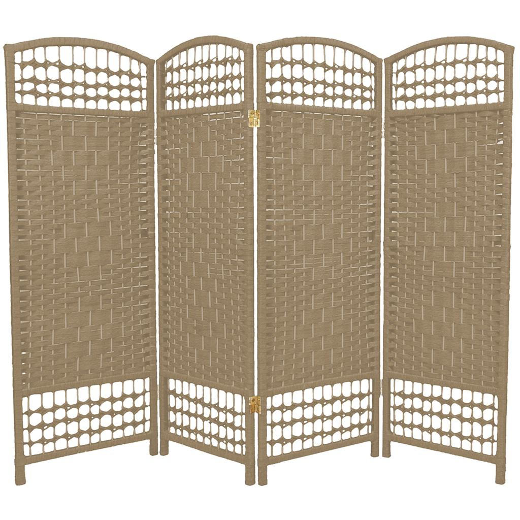 4 panel interwoven mediterranean folding screen room divider wicker straw short - Collapsible room divider ...
