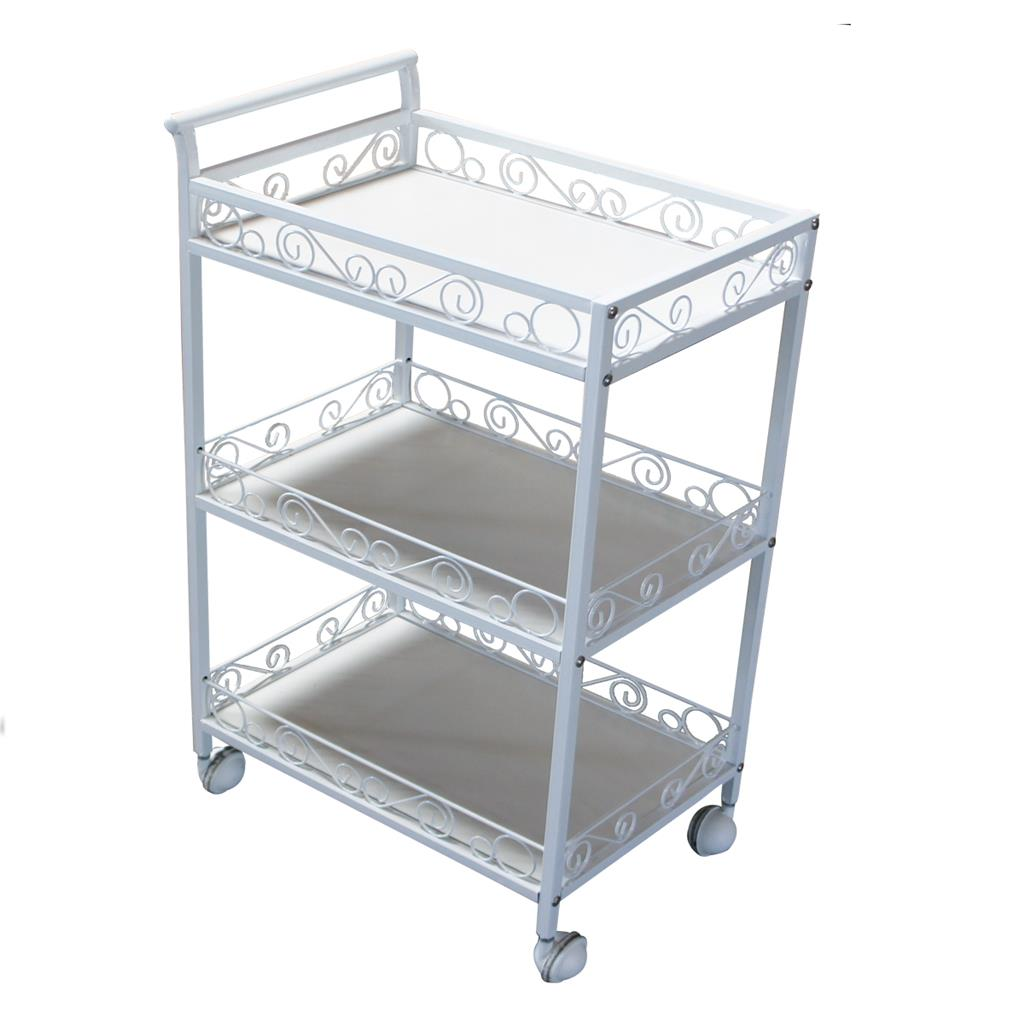 3 shelf storage metal handle tray trolley rolling beauty for Salon trolley