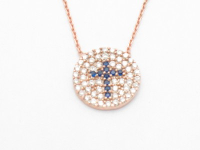 18KT ROSE GOLD SILVER DIAMOND SET PAVE BLUE SAPPHIRE CROSS DISK