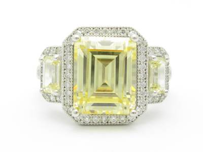 Sterling Silver Diamond Set Yellow Sapphire 3 Stone Halo Emerald Ring
