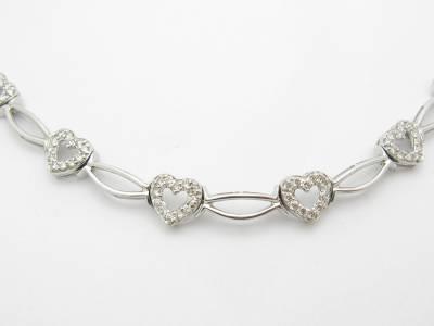 ... Gold Genuine Diamond Heart Tennis Necklace Bridal Wedding Gift eBay