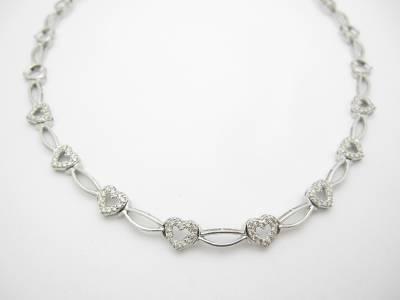 Diamond Necklace Wedding Gift : ... Gold Genuine Diamond Heart Tennis Necklace Bridal Wedding Gift eBay