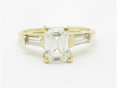 14k yellow gold cubic zirconia emerald cut tapered