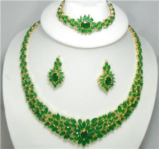 12,995 18k 14k gf Emerald Green Stones Necklace bracelet earrings Set