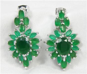 14k gf, Set 3 Emerald Green Stones Necklace bracelet earrings $12,995