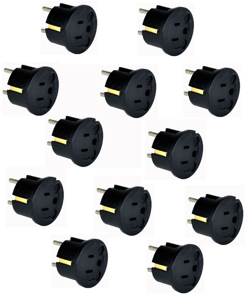 Goldsource GS20 3-Prong American to 2-prong European (round) Wall Outlet Plug Adapter, One Dozen Pack