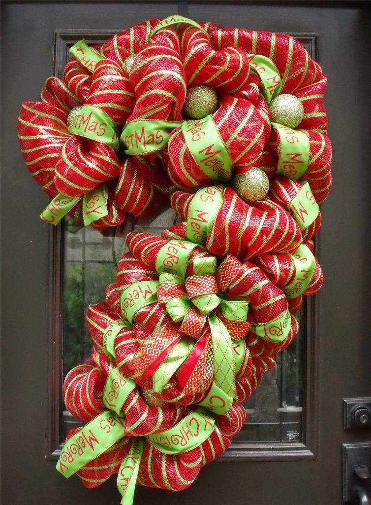 Christmas wreath candy cane red lime door gate giant for Decoration xxl