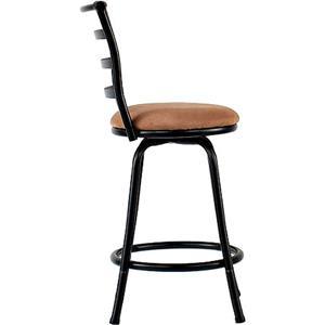 24 Inch Metal Chair Swivel Black Brown Counter Bar Stool