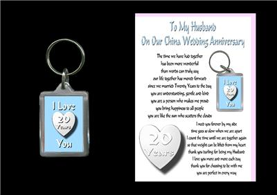 Details about 20TH ANNIVERSARY HUSBAND CARD & KEYRING CHINA WEDDING