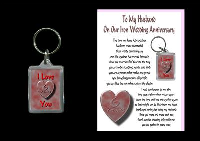 6th Wedding Anniversary Gift Ideas For Husband : Details about 6TH ANNIVERSARY HUSBAND CARD & KEYRING IRON WEDDING