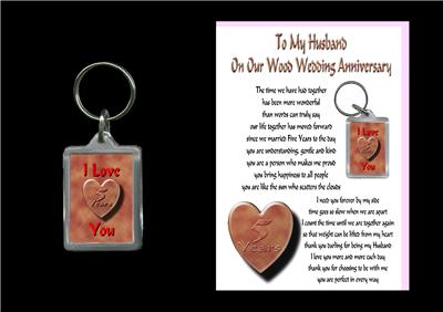 Details about 5TH ANNIVERSARY HUSBAND CARD & KEYRING WOOD WEDDING