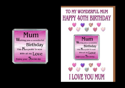 Details about 40TH HAPPY BIRTHDAY MUM CARD AND MAGNET 40 TODAY GIFT