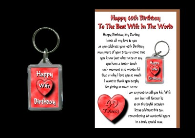 Details about 40TH HAPPY BIRTHDAY WIFE CARD & KEYRING GIFT 40 TODAY