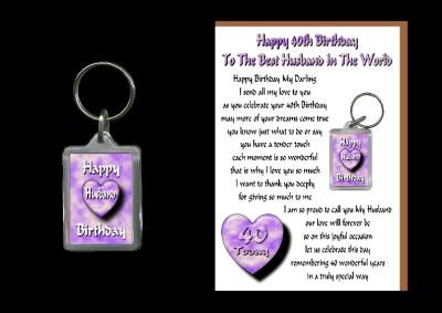 40TH HAPPY BIRTHDAY HUSBAND CARD KEYRING 40 TODAY GIFT