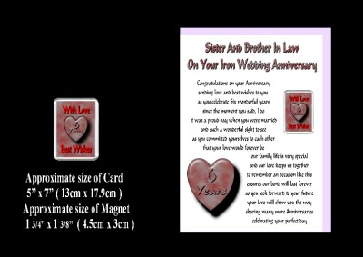 Wedding Gift Messages on 6th Wedding Anniversary Sister   Brother In Law Card   Magnet Gift