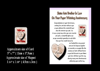 Wedding Anniversary Gift on 1st Wedding Anniversary Sister   Brother In Law Card   Magnet Gift