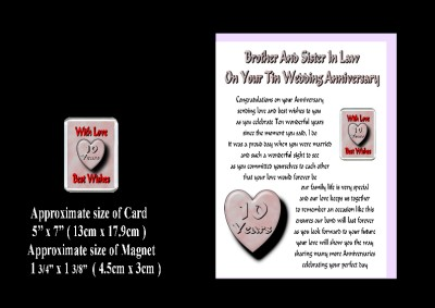 10th Wedding Anniversary Gifts   on 10th Wedding Anniversary Brother   Sister In Law Card   Magnet Gift