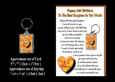 Details about 16TH HAPPY BIRTHDAY DAUGHTER 16 CARD AND KEYRING GIFT