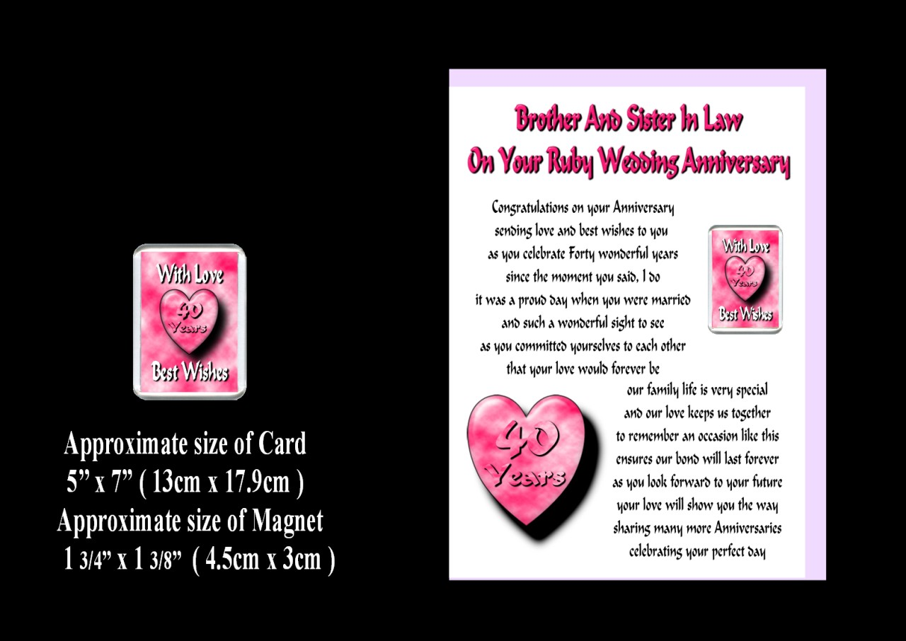 25th Wedding Anniversary Gift Ideas For Sister : ... Sister IN LAW 25th TO 70th Wedding Anniversary Card Magnet Gift eBay