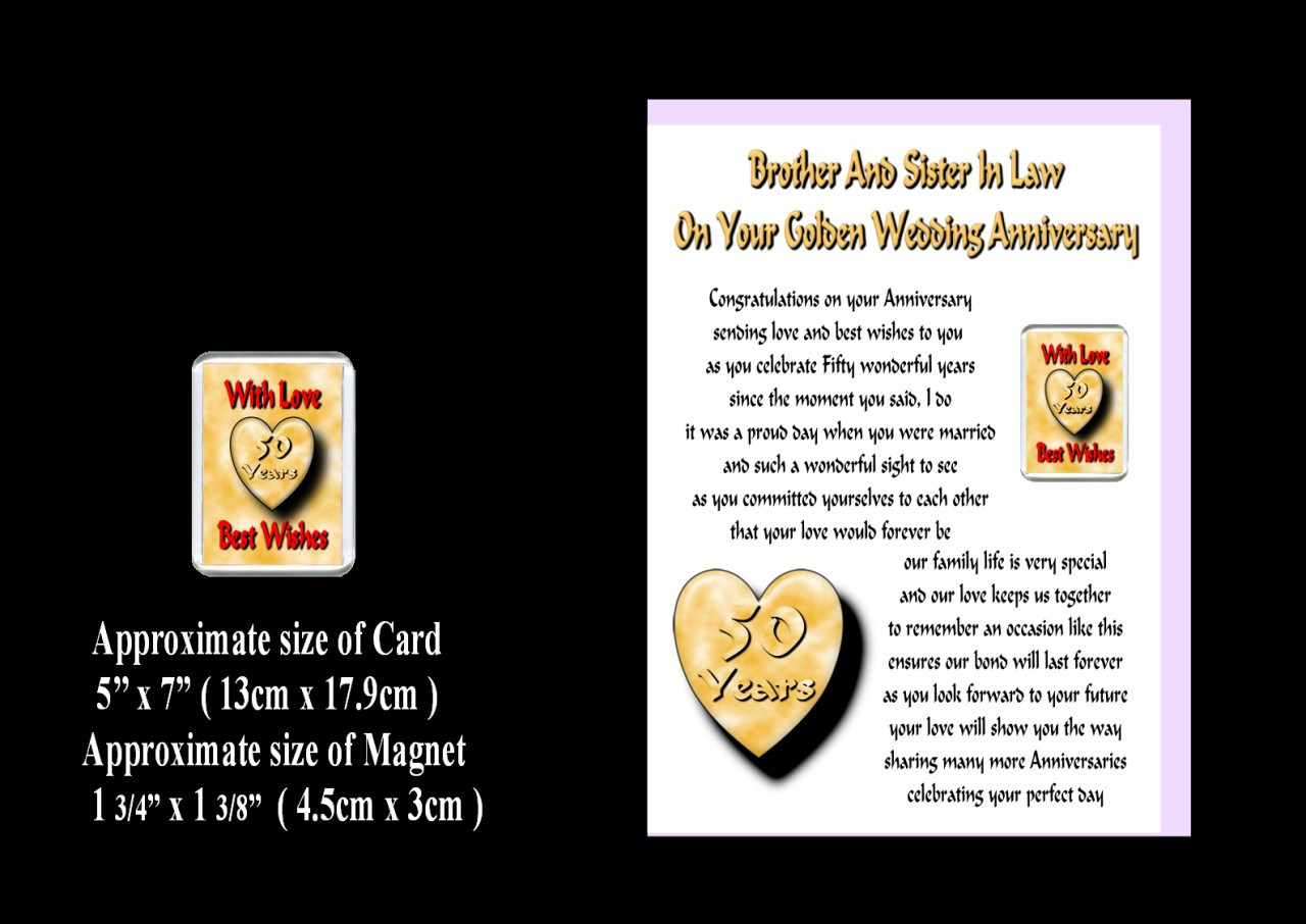 25th Wedding Anniversary Gift For Sister And Brother In Law : BROTHER & SISTER IN LAW 25TH TO 70TH WEDDING ANNIVERSARY CARD & MAGNE...