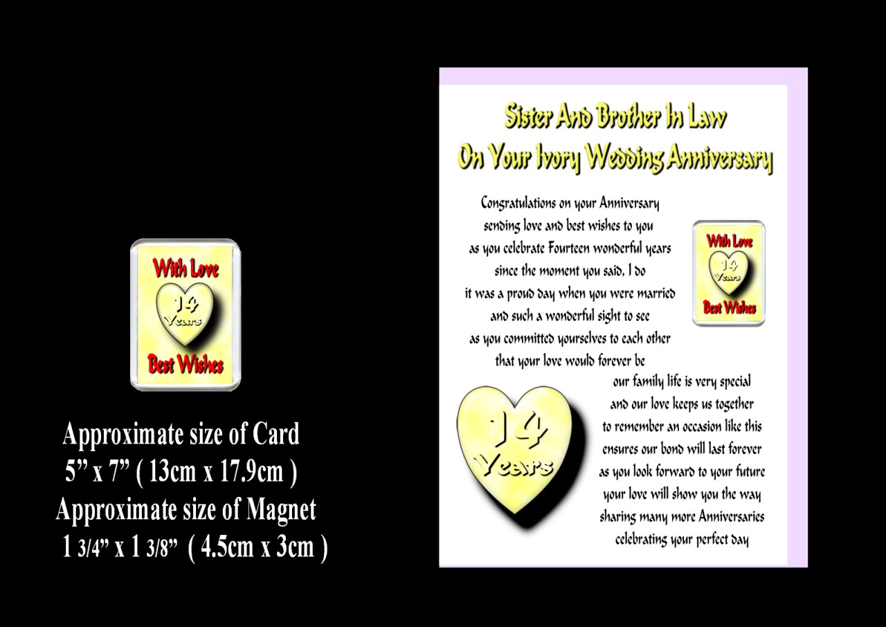 Sister Brother IN LAW 1st TO 24th Wedding Anniversary Card Magnet Gift ...