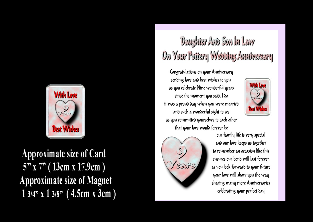 Wedding Gifts For My Son And Daughter In Law : DAUGHTER & SON IN LAW 1ST TO 30TH WEDDING ANNIVERSARY CARD & MAGNET ...