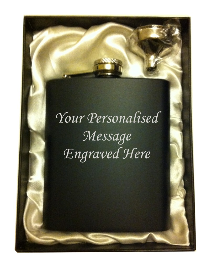 Black hip flask in gift box