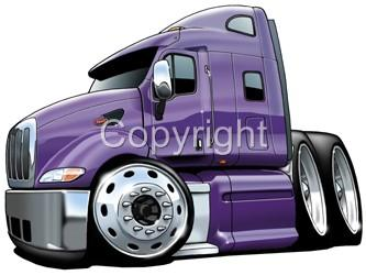 Peterbilt Semi Big Rig Truck Hauler Cartoon Tshirt 9307