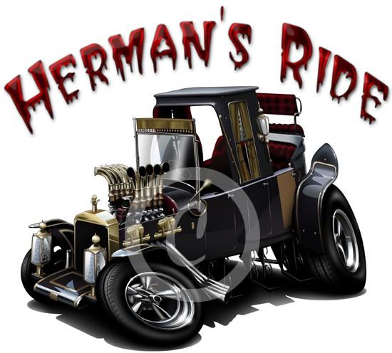 Herman-039-s-Hot-Rod-Munster-Koach-Dragster-Cartoon-T-shirt-9666-Vintage
