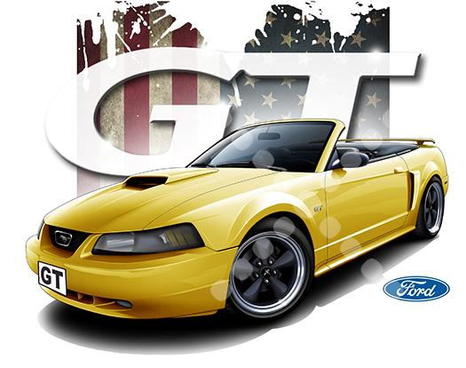 2001-Mustang-GT-Convertible-T-shirts-7285-Genuine-Ford
