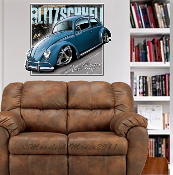 Vintage-Kafer-Bug-Beetle-WALL-GRAPHIC-FAT-DECAL-MAN-CAVE-MURAL-ROOM-VW-5300