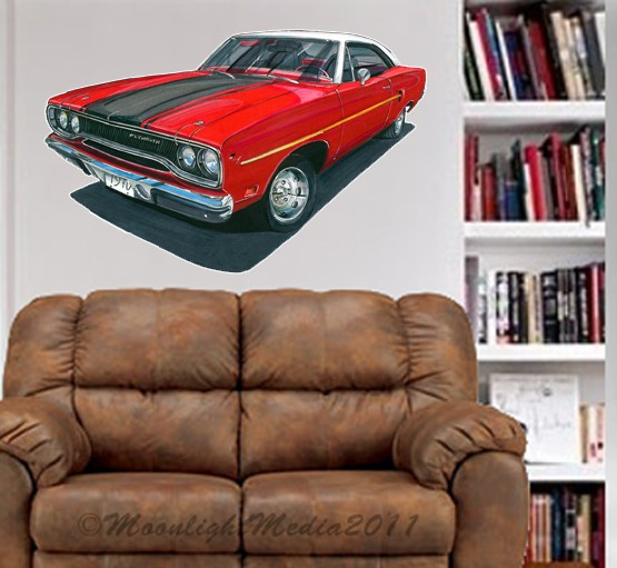1970 plymouth road runner muscle wall graphic decal man for Telephone mural 1970